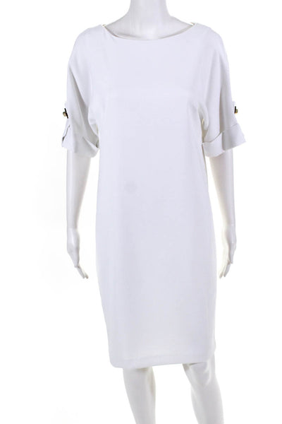Badgley Mischka Womens Short Sleeve Mini Shift Dress White Size 6