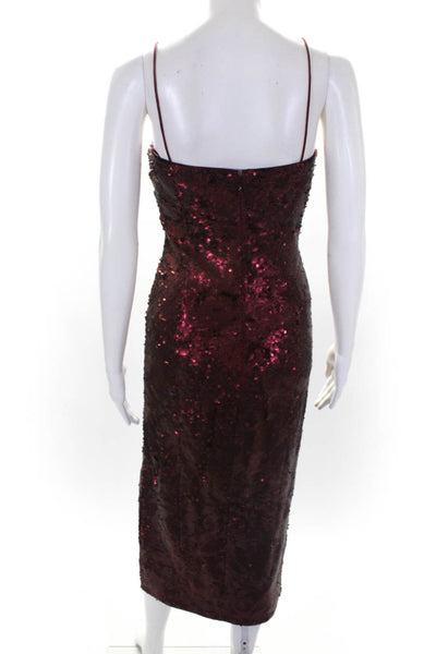 Misha Collection Womens Sequined Spaghetti Strap Tamara Dress Wine Red Size 8