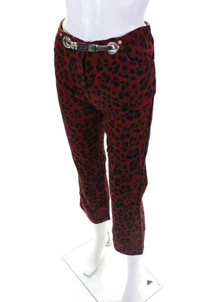 Miaou Womens Animal Print Cropped Tommy Jeans Red Black Cotton Size 24