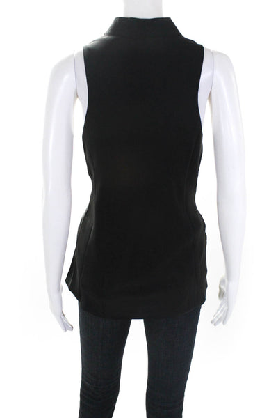 FRAME Womens Silk Sleeveless Cowl Neck Tank Top -Black Size Small