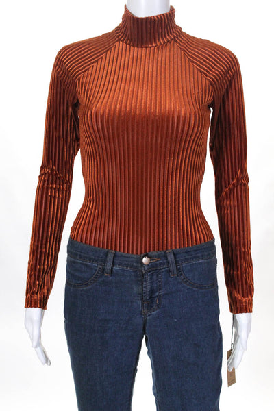 Only Hearts Womens Velour Turtleneck Thong Bodysuit Amber Brown Size Small