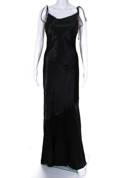 Rebecca Vallance Womens Henri Shantung Tie Strap Maxi Dress Black Size 10