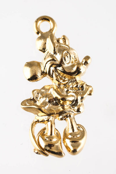 Designer 1940s Mickey Minnie 9KT Yellow Gold Charm Pendants Lot 8