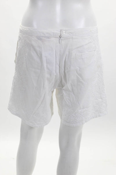 Roberta Freymann Womens Back Zip Embroidered Trim Shorts White Cotton Size XS