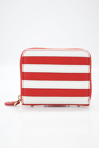 Folli Follie Womens Club Riv Striped Leather Zip Around Wallet Red White