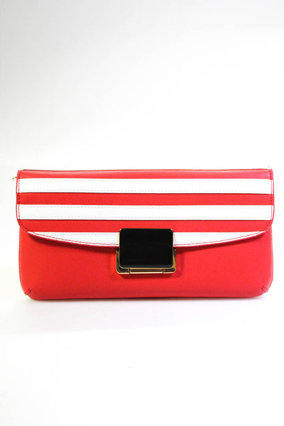 Folli Follie Womens Club Riv Striped Envelope Push Lock Clutch Handbag Red White
