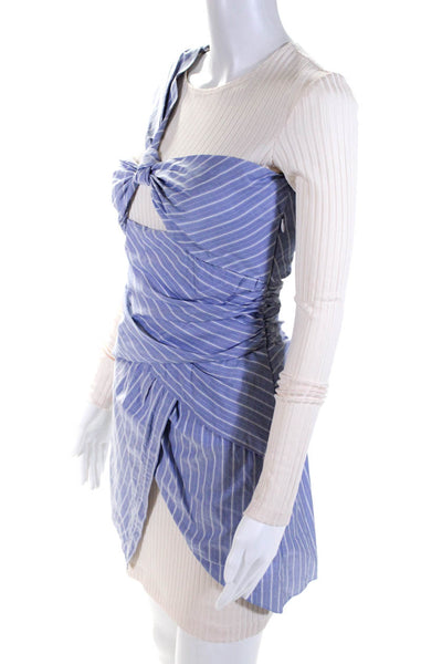 Thakoon Womens Striped Ruched Body Con Dress Blue Ivory Cotton Size 0