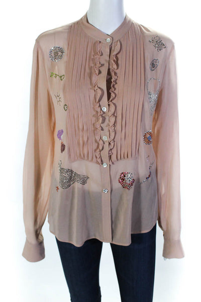 Libertine Womens Sheer Long Sleeve Rhinestone Ruffle Top Pink Size Small