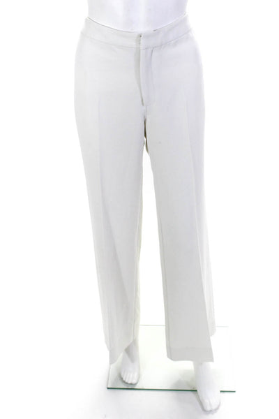 Tucker Womens Zipper Fly Pleated Wide Leg Trouser Pants White Size Medium