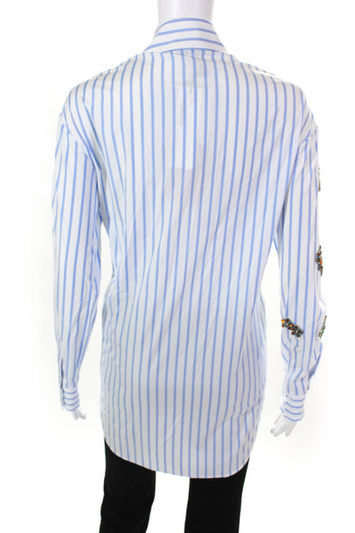 Dice Kayek Womens Striped Long Sleeve Crystal Embellished Shirt White Blue 34