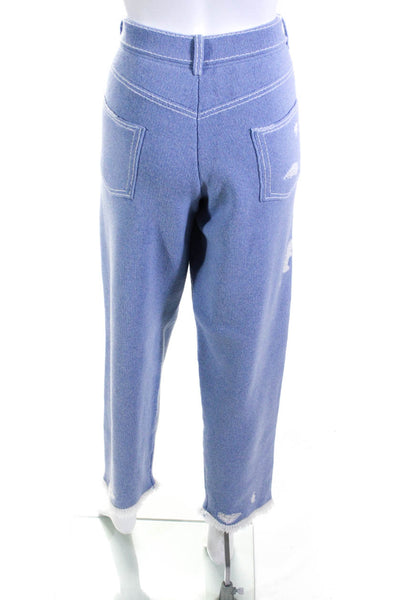 Barrie Womens Cashmere Ripped Knit Pants Blue White Size Large