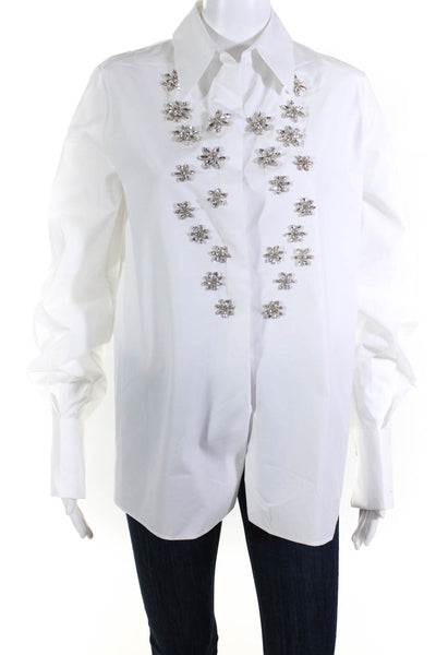 Dice Kayek Womens Cotton Crystal Embellished Button Down Shirt White Size 38