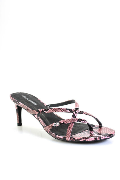 Jeffrey Campbell Womens Faux Leather Snake Print Ficelle Sandals Pink Size 6.5M