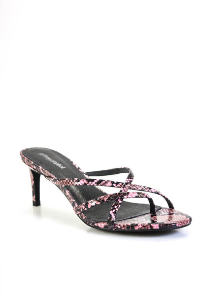 Jeffrey Campbell Womens Faux Leather Snake Print Ficelle Sandals Pink Size 8M
