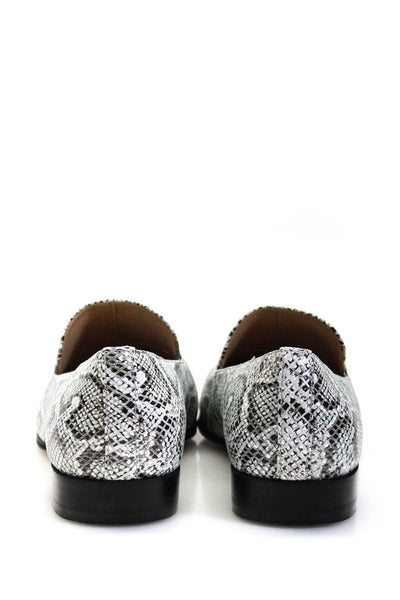 Villa Rouge Womens Embossed Leather Patrice Loafers White Black Size 8M