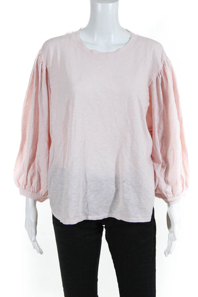 Velvet Womens 3/4 Sleeve Amara Tee Shirt Shell Pink Cotton Size Large