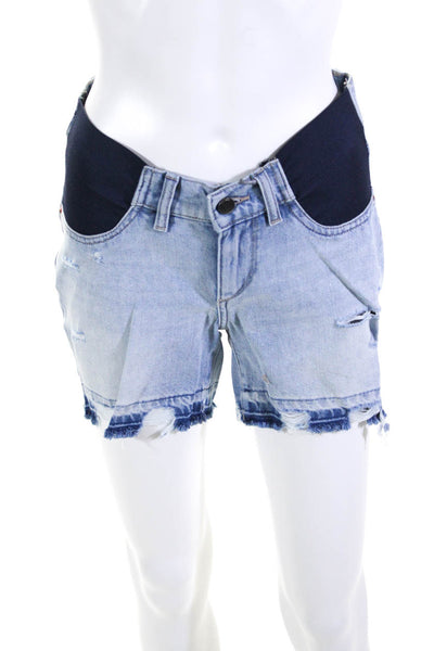 DL1961 Womens Hepburn High Rise Wide Leg Maternity Shorts Millie Blue Size 23
