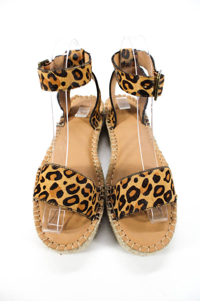 Soludos Womens Cadiz Leopard Print Pony Hair Platform Sandals Brown Size 6