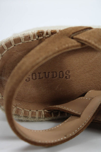 Soludos Womens Como Platform Wedge Sandals Brown Suede Size 9.5