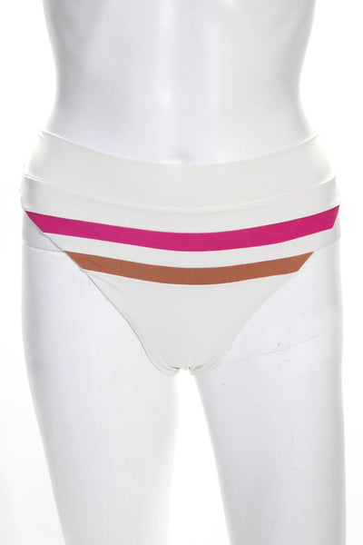 L*Space Womens Wilson High-Waist Bikini Bottoms White Tan Pink Size XS