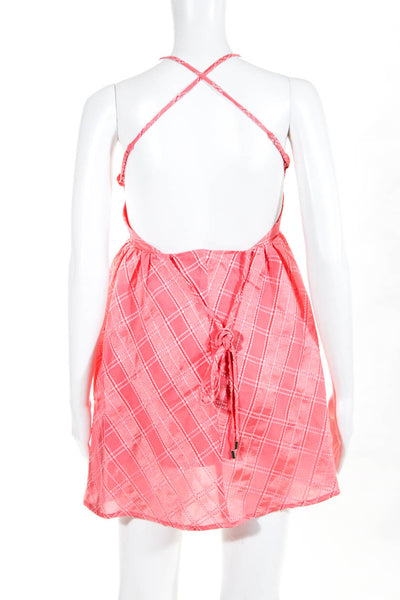 C/Meo Collective Womens Same Things Mini Dress Coral Pink Check Size Medium