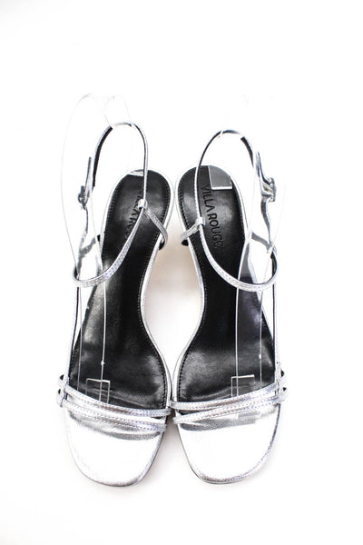Villa Rouge Womens Desi Strappy Metallic Leather Sandals Silver Size 6.5