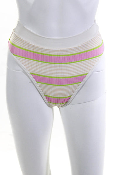 L Space Womens Frenchi Serendipity Stripe Bikini Bottoms White Pink Green XS