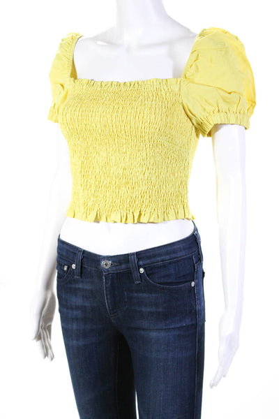 ASTR The Label Womens Smocked Off Shoulder Mason Crop Top Lemon Yellow Size L