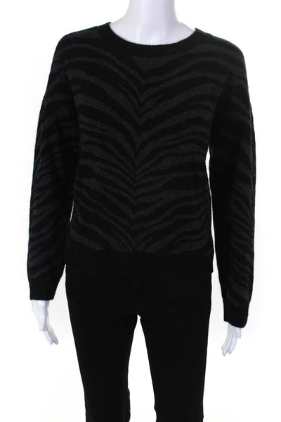 RAILS Womens Chance Crew Neck Sweater Charcoal Tiger Stripe Size Extra Extra Sma