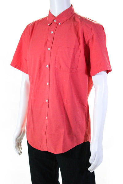 Portuguese Flannel Mens Soup Short Sleeve Button Down Shirt Pink Size Large