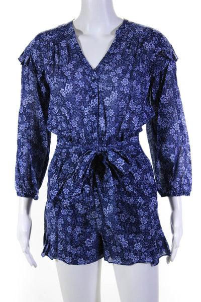 Parker Womens Floral Print Ryan Romper Tessa Blue Size Extra Extra Small