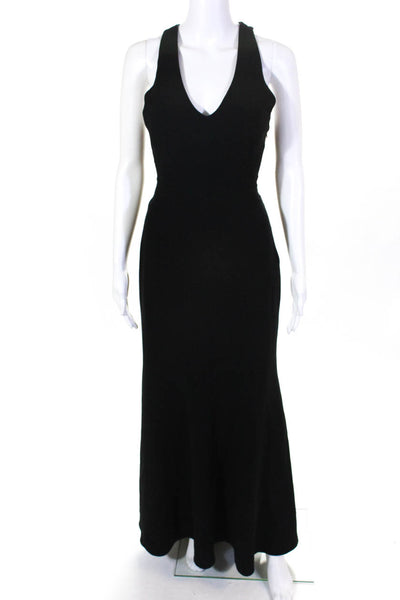 Theia Womens Black Matte Gown Size 6 12245023