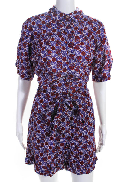 XIRENA Womens Short Sleeve Printed Belted Grady Romper Purple Red Size Small