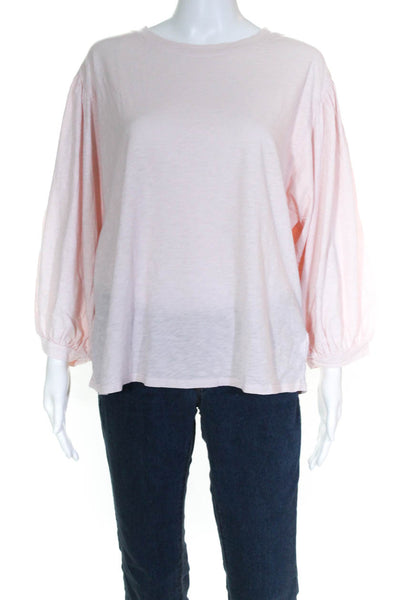 Velvet Womens Amara 3/4 Balloon Sleeve Crew Neck Tee Shirt Pink Size Large