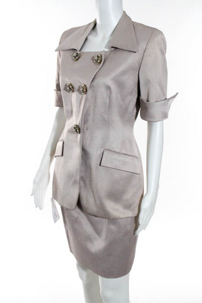 Badgley Mischka Pink Short Sleeve Long Blazer Pencil Skirt Suit Size 6