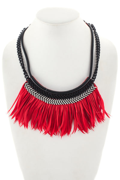 Designer Gold Tone Metal Bib Necklace Black Leather Red Feather New