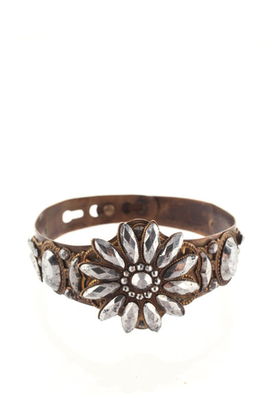 Designer Antique Gold Tone Metal Cuff Bracelet Gray Jewel Flower Accent