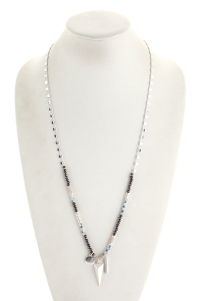 Marlyn Schiff Silver Tone Blue Hematite Double Strand Necklace $96 NEW