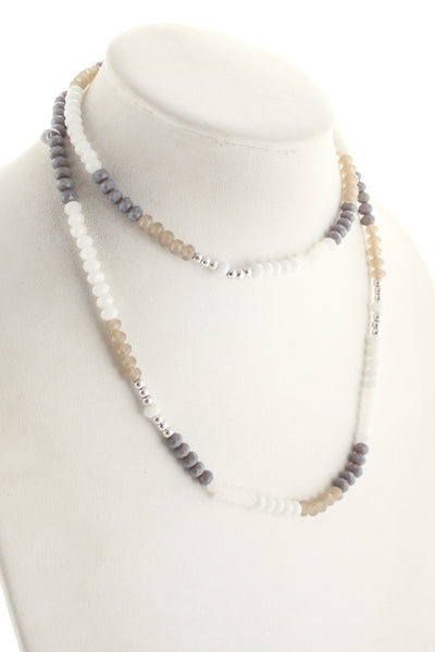 Marlyn Schiff Silver Tone White Hematite Crystal Bead Necklace Bracelet $92 NEW