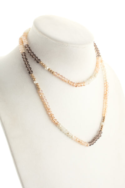 Marlyn Schiff Gold Tone Neutral Crystal Beaded Necklace Bracelet $92 NEW