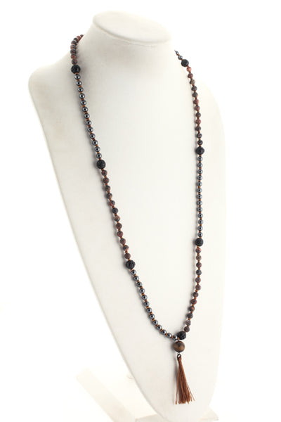Marlyn Schiff Brown Metallic Contrast Tassel Detail Necklace $128 NEW