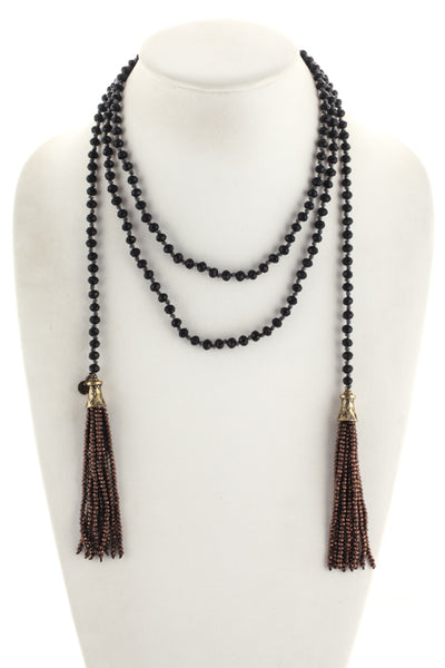 Marlyn Schiff Black Brown Crystal Beaded Gma Tassel Lariat Necklace $110 NEW