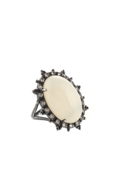 Designer Sterling Silver Oval Moonstone Diamond Cocktail Ring Size 7