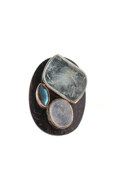 Joan Hornig Sterling Silver Moonstone Aquamarine Wooden Cocktail Ring Size 4.5
