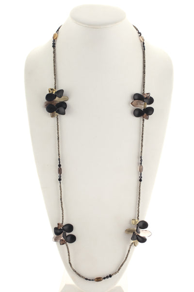Joan Hornig Sterling Silver Onyx Topaz Citrine Pyrite Beaded Rock Candy Necklace
