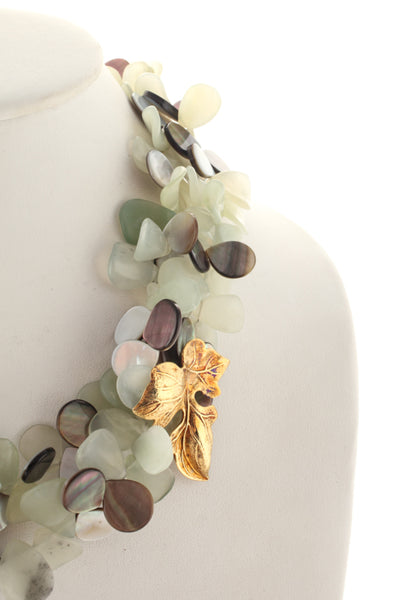 Joan Hornig 18KT Gold Abalone Green Jade Petal Beaded Necklace