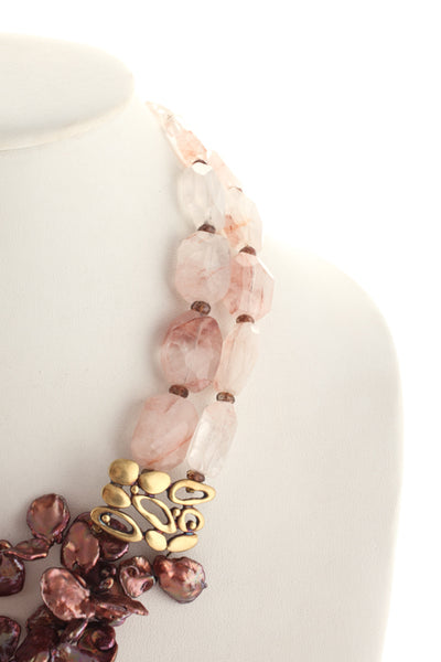 Joan Hornig 18KT Gold Pink Abalone Rose Quartz Beaded Multi Strand Necklace