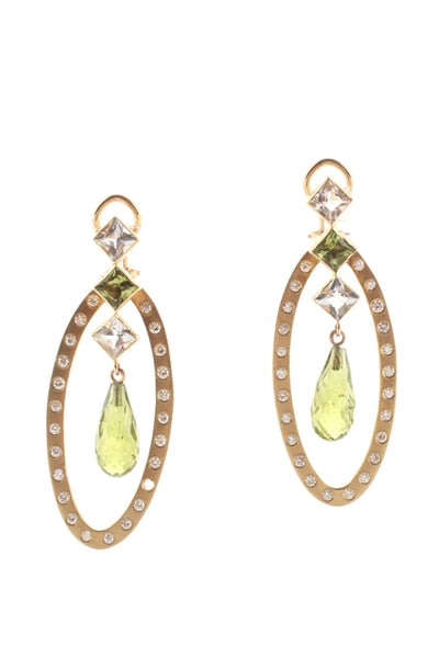 Designer 18KT Gold Diamond Peridot White Sapphire Briolette Drop Earrings