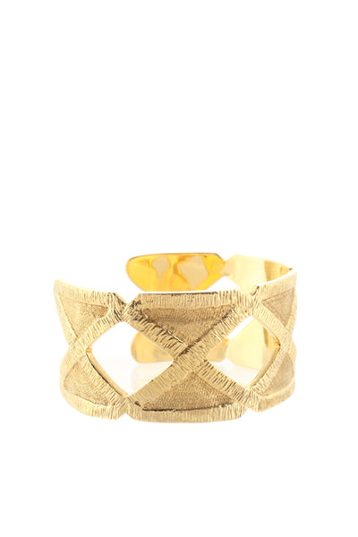 Joan Hornig 18KT Gold Brushed Metal Cut Out Trimmings Cuff Bracelet $19000