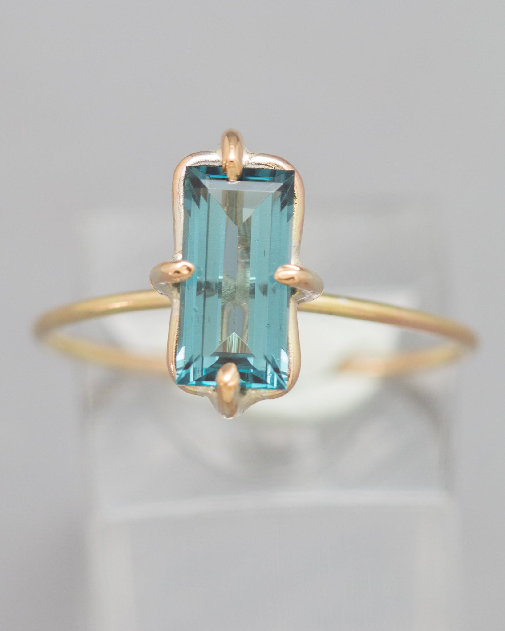 A Rare Blue Tourmaline (Indicolite) Stacking Ring